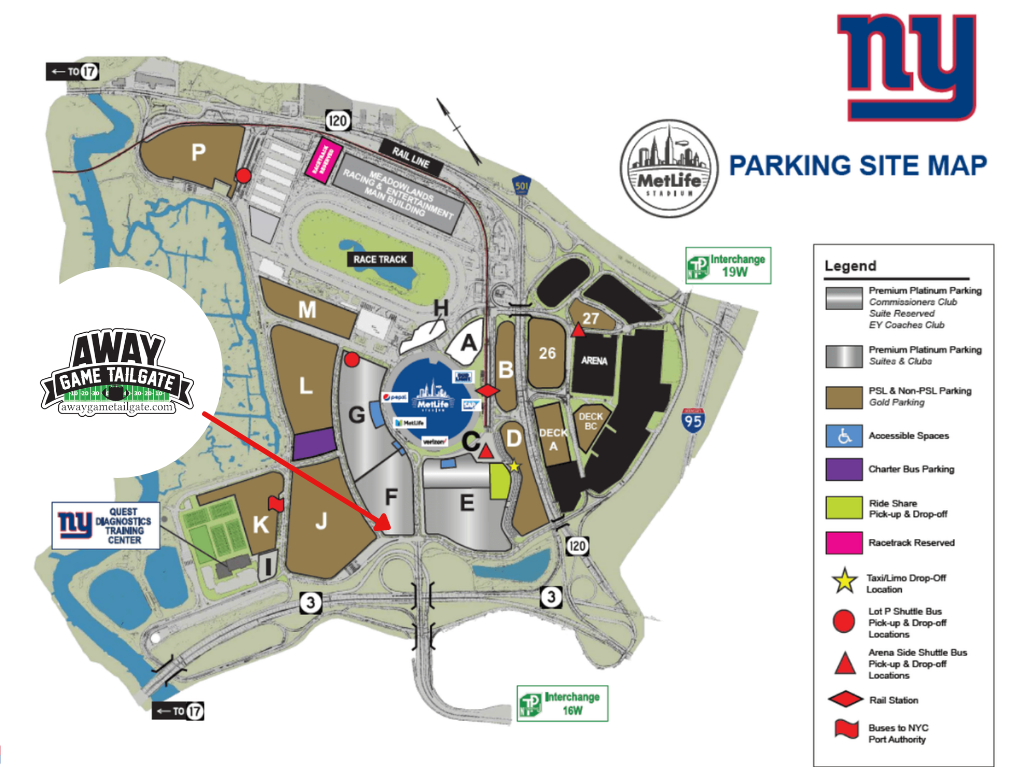 New York Giants Tailgating Map