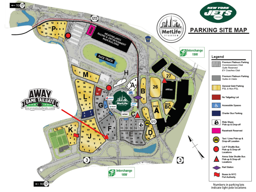 New York Jets Tailgating Map
